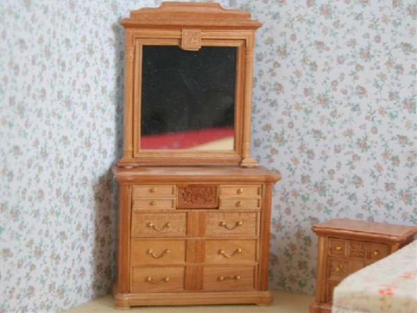 Cherry chest of drawers and Mirror for the dollshouse. EX06